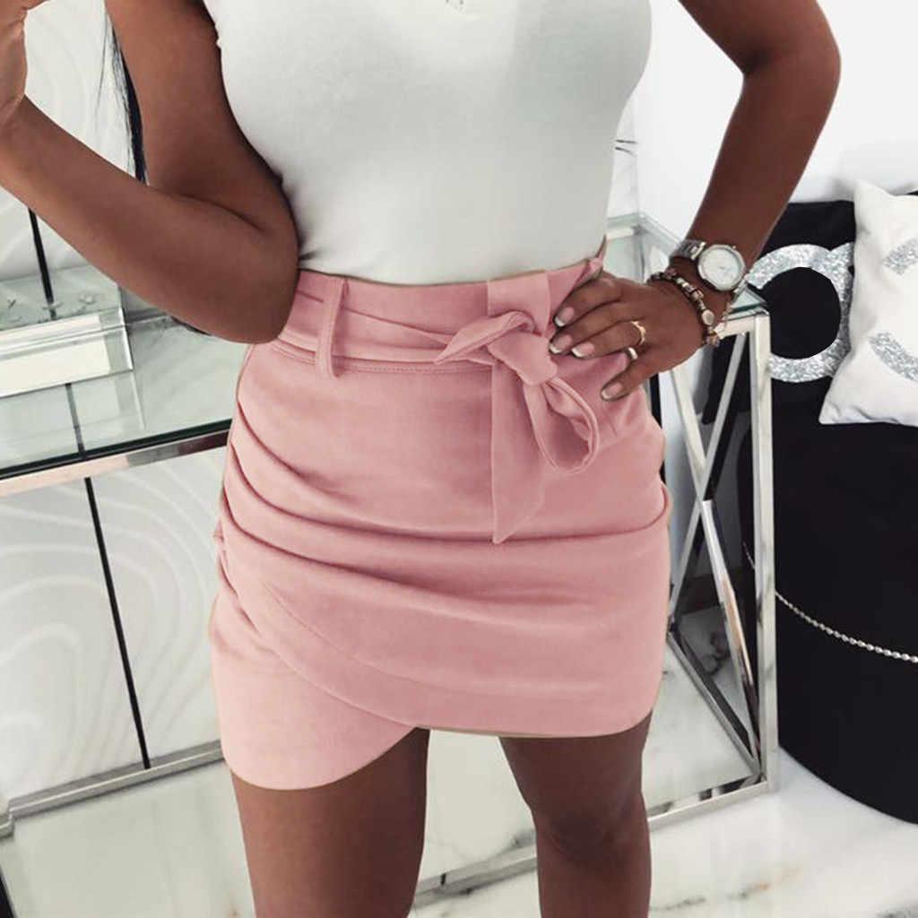 2019 nowo kobiet lato eleganckie dojazdy moda Casual Bowknot stałe Mini plaża ołówek powyżej kolana Mini spódnica Jupe Femme 50