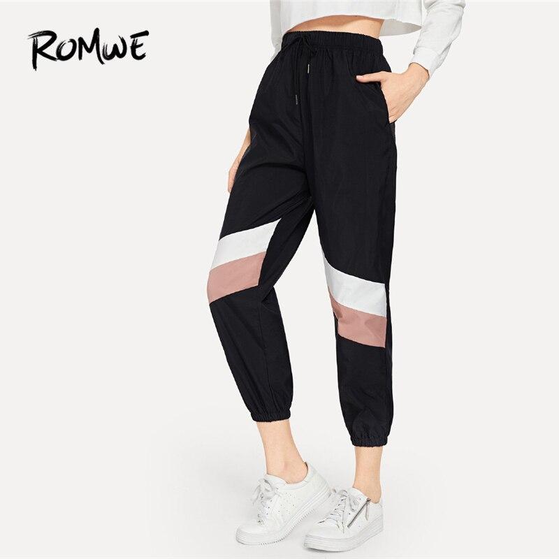 ROMWE שחור שרוך מותניים Colorblock מכנסיים נשים מקרית סתיו אמצע מותניים מכנסי טרנינג נקבה ספורט מכנסיים