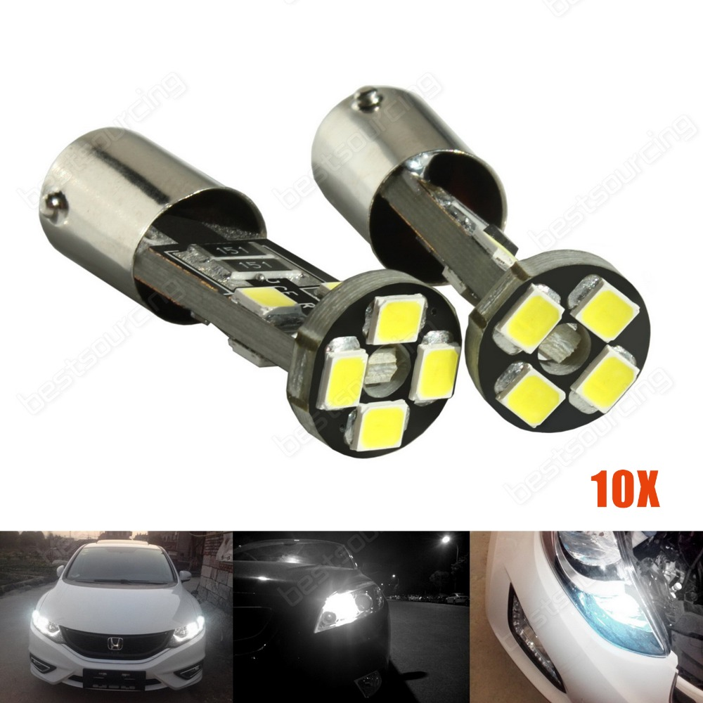 10x White <font><b>H6W</b></font> <font><b>BAX9s</b></font> 8 SMD <font><b>LED</b></font> 433 Bulb Parking Side Indicator Light Error Free MB(CA230)