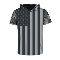 New fallow USA Flag T-shirt Men/Women 3d T-shirt Print Striped Stars America Fashion Hooded T shirt With Hat Tops Tees