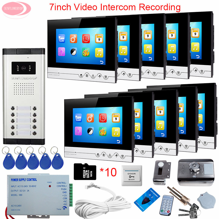 For 10 Apartment 7'' Video Intercom With Recording Video Intercom + Rfid Unlock Electronic Lock Video Door Phone Intercom System the apartment