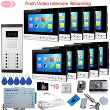 "For 10 Apartment 7"" Video Intercom With Recording Video Intercom + Rfid Unlock Electronic Lock Video Door Phone Intercom System"