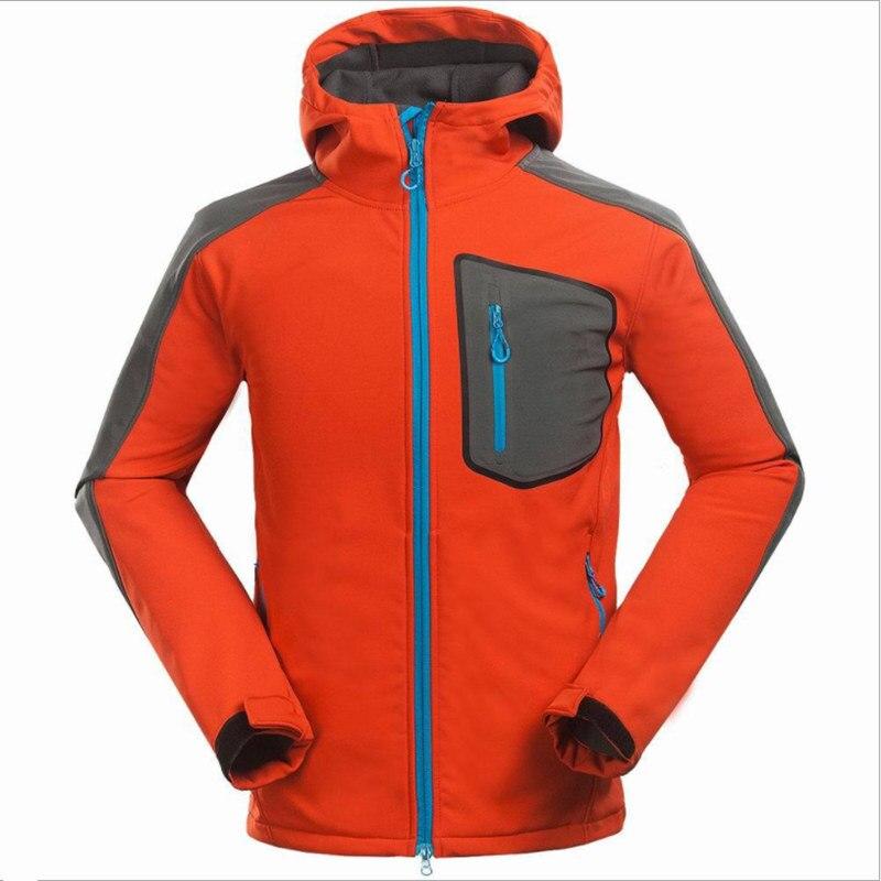 цена 2018 Men's Hiking Waterproof Softshell Jacket Windbreaker Breathable Fleece Warm Rain Coat Fishing Windstopper Outdoor Camping