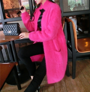 Image 3 - 2020 100% Pure Mink Cashmere Long Coat Lady Fashion Real Mink Cashmere Nature Fur Jacket Wholesale OEM Sweater DFP941