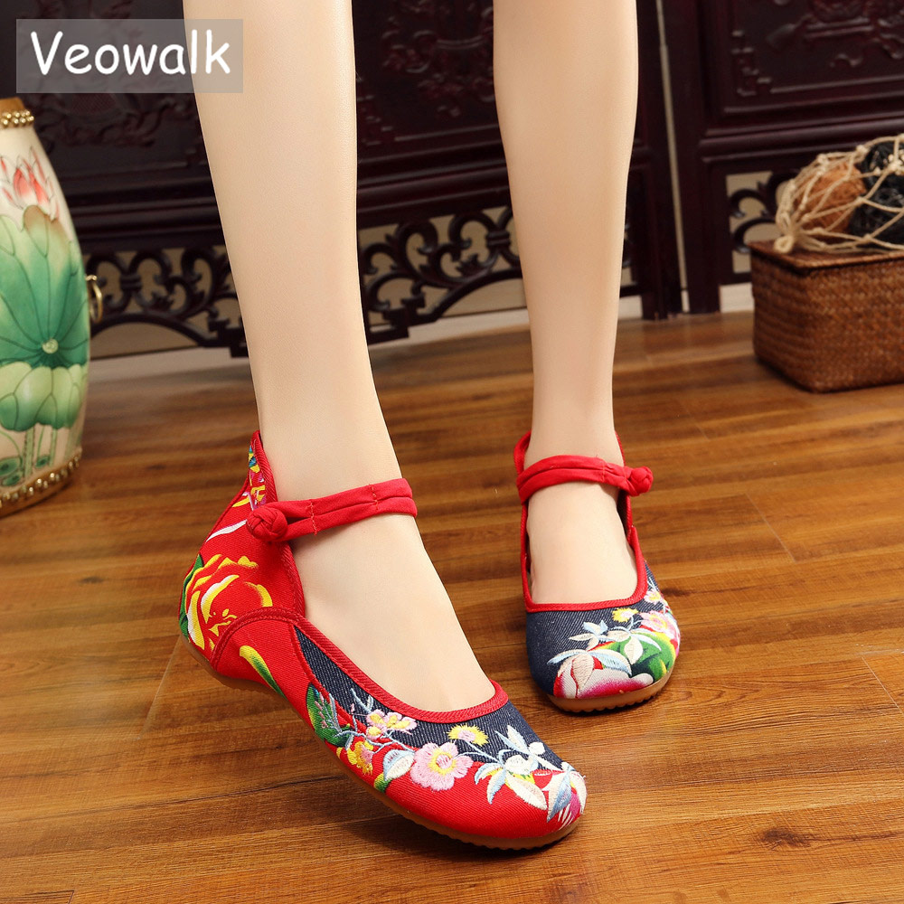 Veowalk Handmade Vintage Women's Old Beijing Mary Jane Flats Chinese Embroidered Cloth Casual Denim Shoes Woman Big Size 34-43 vintage pumps spring autumn old beijing embroidery cloth shoes fairy girl embroidered national han chinese women s shoes
