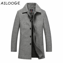 Autumn Winter Single Breasted Woolen Coats Mens Wool Jackets Turn-down Collar