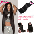 Brazilian Straight Virgin Hair With Frontal Closure 2 Bundles Straight Hair With Closure 360 Lace Frontal Closure With Bundles