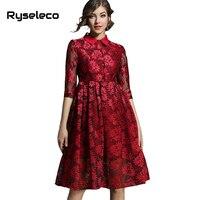 Ryseleco 2018 חמה באיכות גבוהה פרחים חלולים מתוך תחרת שמלות נשים Slim שיק אימפריה מזדמן תורו למטה צווארון Sequine שמלות ערב
