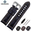 HENGRC Watch Band Bracelet 24mm Men High Quality Genuine Leather Watchband Strap Solid Steel Metal Needle Buckle For Panerai