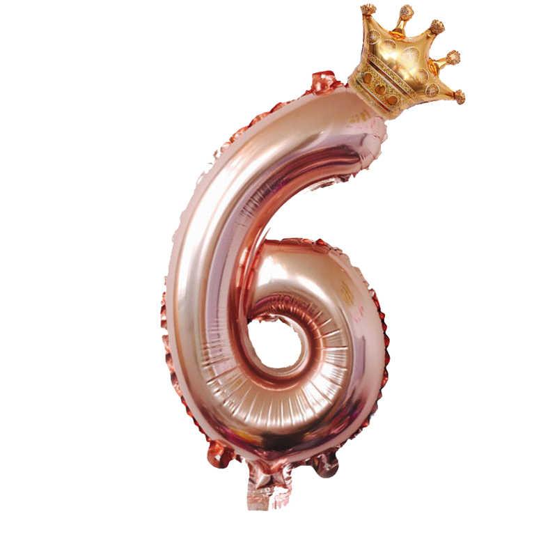 1 set 30 pulgadas número globos de papel de aluminio de 1, 2, 3, 4, 5, 6 7 años chico niños niñas corona suministros de decoración de la Ducha del bebé del globo del feliz cumpleaños