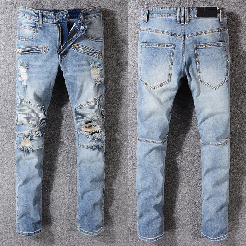 New Italy Style Mens Distressed Destroy Ripped Patches Pants Stretch Skinny Denim Blue Jeans Slim Trousers Size 28-40 wholesale 2016 new unique fashion runway hiphop hole wornout ripped girl pants jean destroy womens slim denim jeans trousers