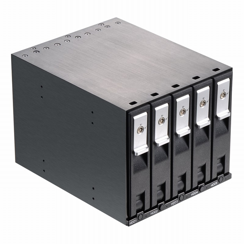 Boîtier interne de fond de panier d'échange à chaud sans plateau SATA 3.5in en aluminium à 5 baies pour Rack Mobile SATA HDD 3.5in