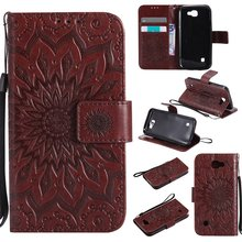Коричневый солнце цветочным узором PU кожаный бумажник Стенд Флип Чехол линии для LG K3 LS450 случае