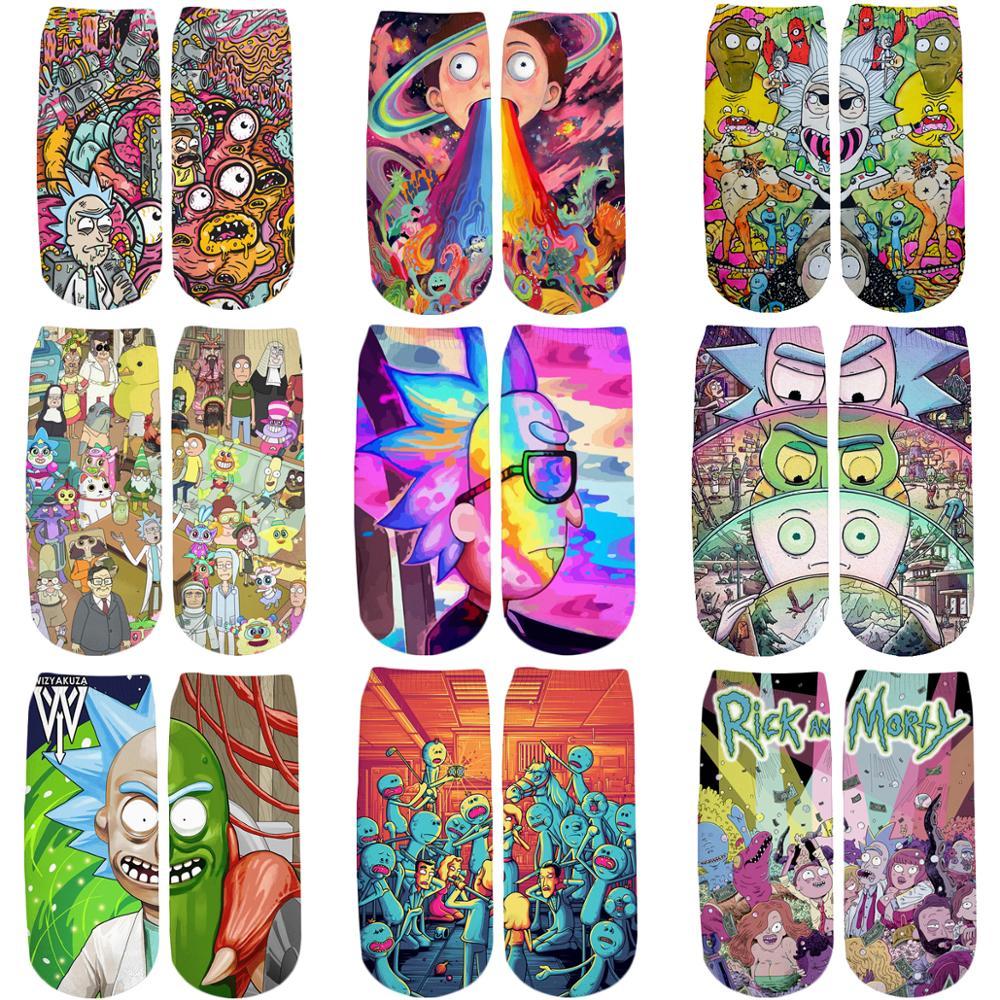 PLstar Cosmos 2019 New 3D Printed Cartoon Rick And Morty Cute Cotton Short Ankle Socks For Men Women Harajuku Korean Socks WZ055