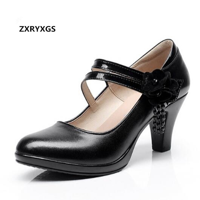 ZXRYXGS brand Flowers elegant fashion shoes women high heel shoes 2019 spring shoes shallow mouth cow