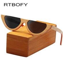RTBOFY Wood Sunglasses for Men and Women Skateboard Wood Frame Shades Cat Eyes Shape Glasses