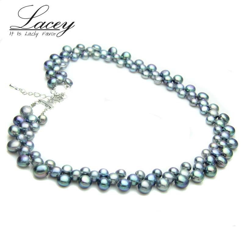 100% Real Freshwater black pearl necklace for women,wedding chunky - Fine Jewelry - Photo 3
