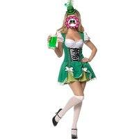 Abbille Hot Koop magic Vrouwen volwassen halloween kostuums Cosplay groen meid uniformen bier kostuum Carnaval oktoberfest kostuum 2017