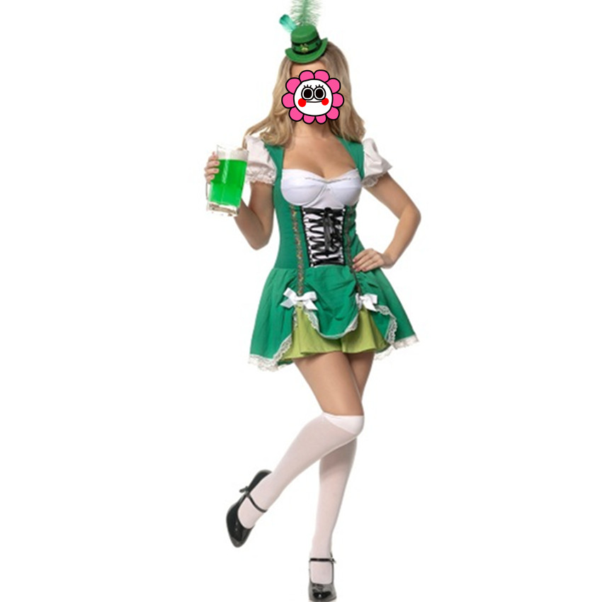 Abbille Hot Sale magic Women adult halloween costumes Cosplay green maid uniforms beer costume Carnival oktoberfest costume 2017