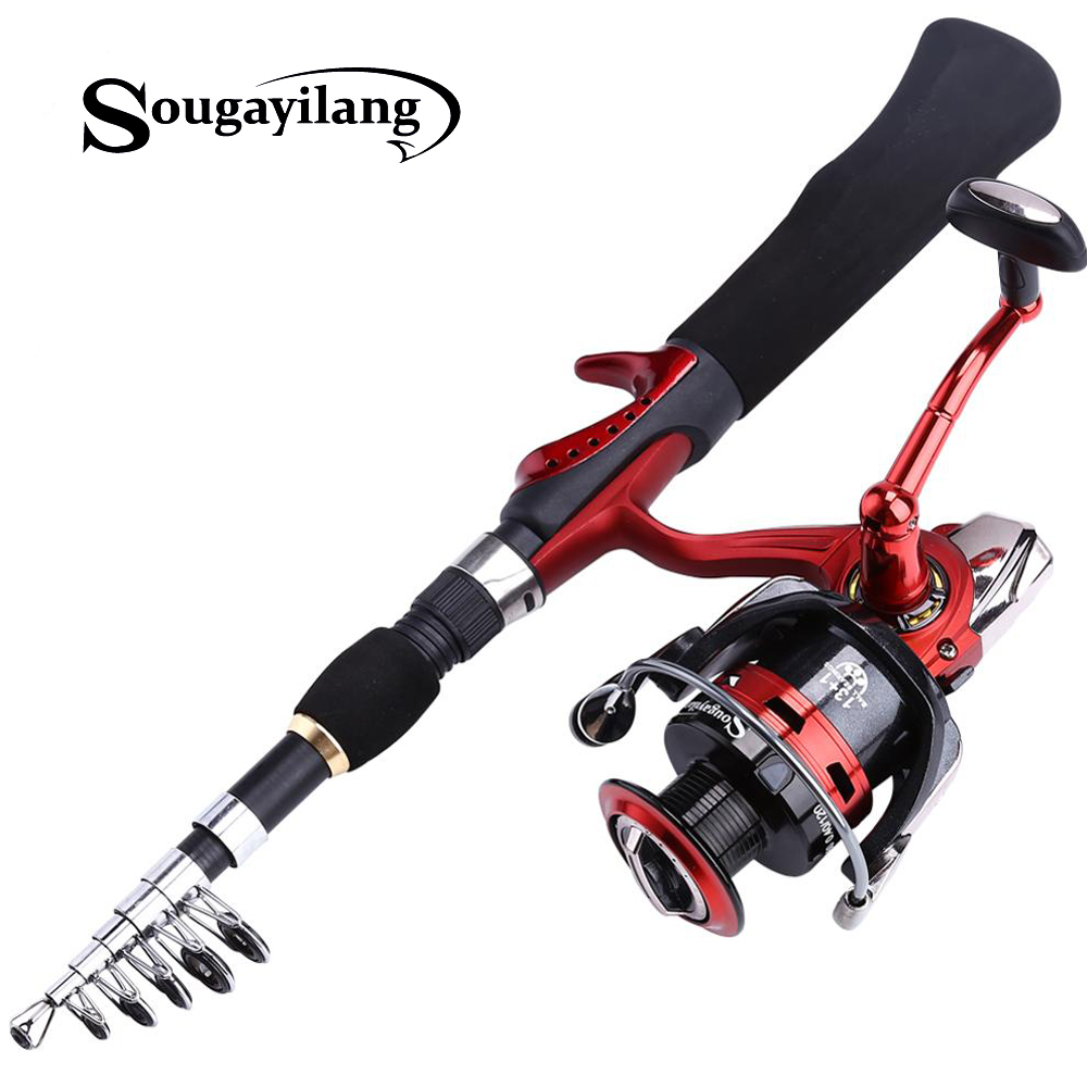 Sougayilang Spinning Fishing Rod with BD2000 Reel Set Olta 1.65m Red Portable Travel Carbon Fishing Rod Combo Fishing Pole