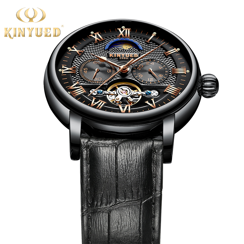 KINYUED Moon Phase Mens Automatic Watches Top Brand Luxury 2019 Leather Strap Mechanical Alarm Wristwatch relojes automaticosKINYUED Moon Phase Mens Automatic Watches Top Brand Luxury 2019 Leather Strap Mechanical Alarm Wristwatch relojes automaticos