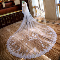 3Meter White Ivory Luxury LongWedding Veils Lace Edge Bridal Veil with Comb FloweWedding Accessories Bride Muslim Wedding Veil