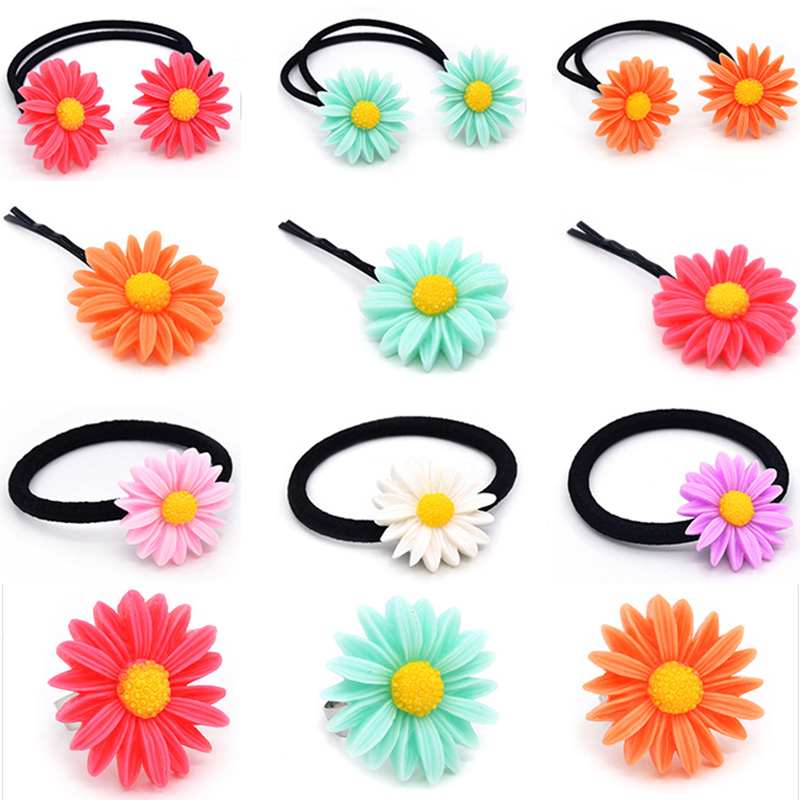 New 1PC Children Cute Hair Clip Hairpin Girls Colorful Sun Flower Hair Band Elastic Hair Rope Headwear Woman Accessories 5Colors