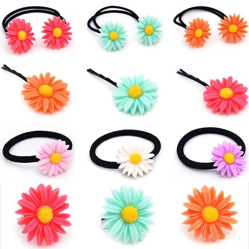 New 1PC Children Cute Hair Clip Hairpin Girls Colorful Sun Flower Hair Band Elastic Hair Rope   Headwear   Woman Accessories 5Colors