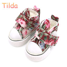 Tilda 3.5 cm Blyth Doll Shoes,Floral Canvas Blyth Shoes for Blythe OB24 BJD 1/6 Shoes for KPOP Accessorries for EXO Dolls(China)