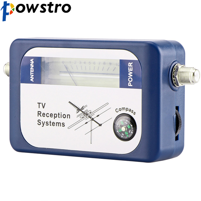 Powstro DVB-T Locator Digital Satellite Signal Finder Antenna TV Receiver with Compass Antenna Pointer Intensity Meter