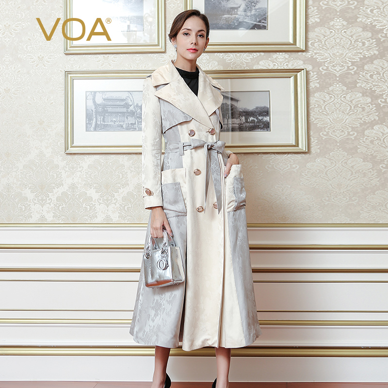 VOA Plus Size Classic Beige Belt Trench Coat Elegant High Quality Luxury Silk Women Coat Double Breasted Overcoat Fall FLX00801