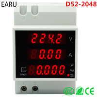 Smart Home D52-2048 Din rail LED Volt current Meter Active Power Factor Energy Ammeter Voltmeter AC 80-300V 0-100.0A Gauge DIY