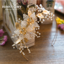 Handmade Beaded Gold Plating Pearl Rhinstone Wedding Headpiece Leaf&Floral Clear Beads  Crystal Hair Vine