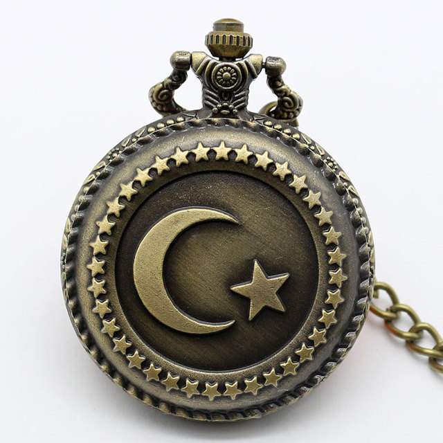 Antique Bronze Turkish Flag Design Moon and Star Theme Quartz Pocket Watch With