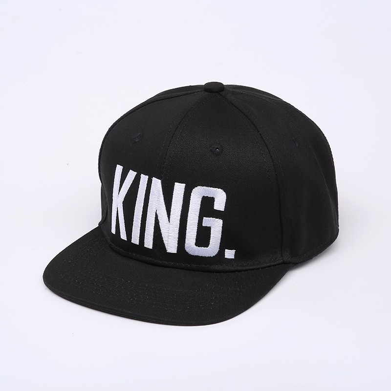 "Embroidered ""King and Queen"" Snapback Cap Set - Black King Cap with White Embroidery"