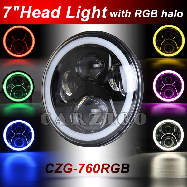 CZG760RGB Newest model 60/40w 7 inch round led headlamp RGB with multiple colors halo ring with high/low beam for jeep wrangler кофемашина delonghi ecam 45 760 w белый