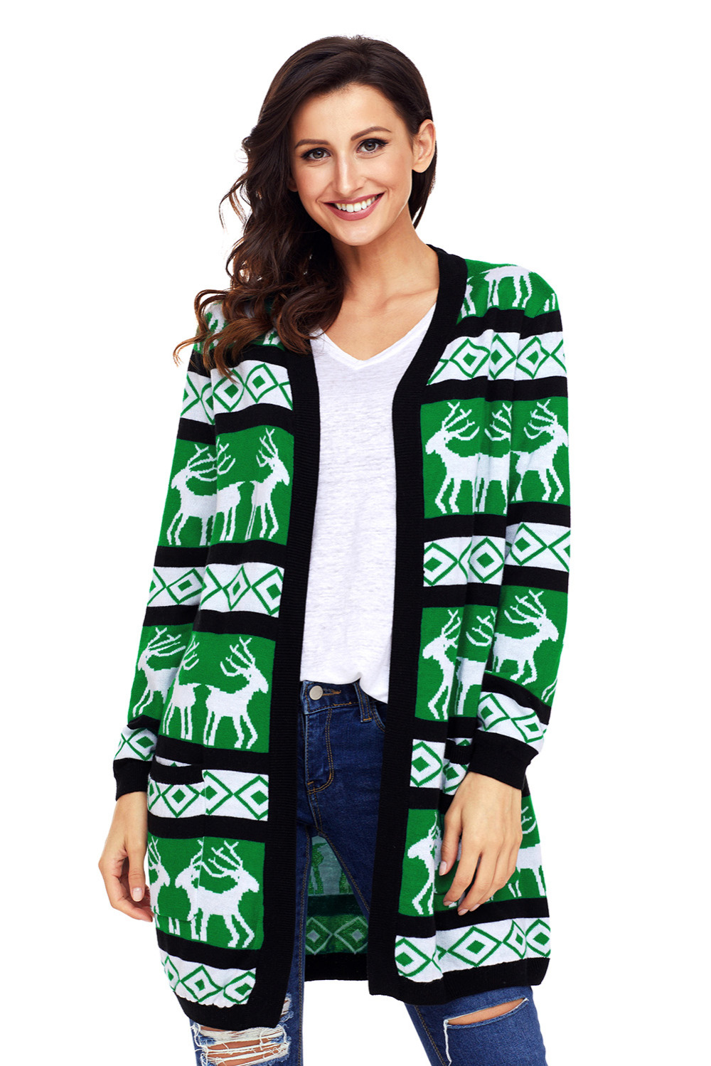 2018 New Arrival Winter Womens Casual Black Green Reindeer Geometric Christmas Cardigan LGY27806