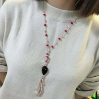 Hot Fashion Jewelry For Women Long Chain Necklace Rose Gold Pendant 70CM Adjustable Top Quality