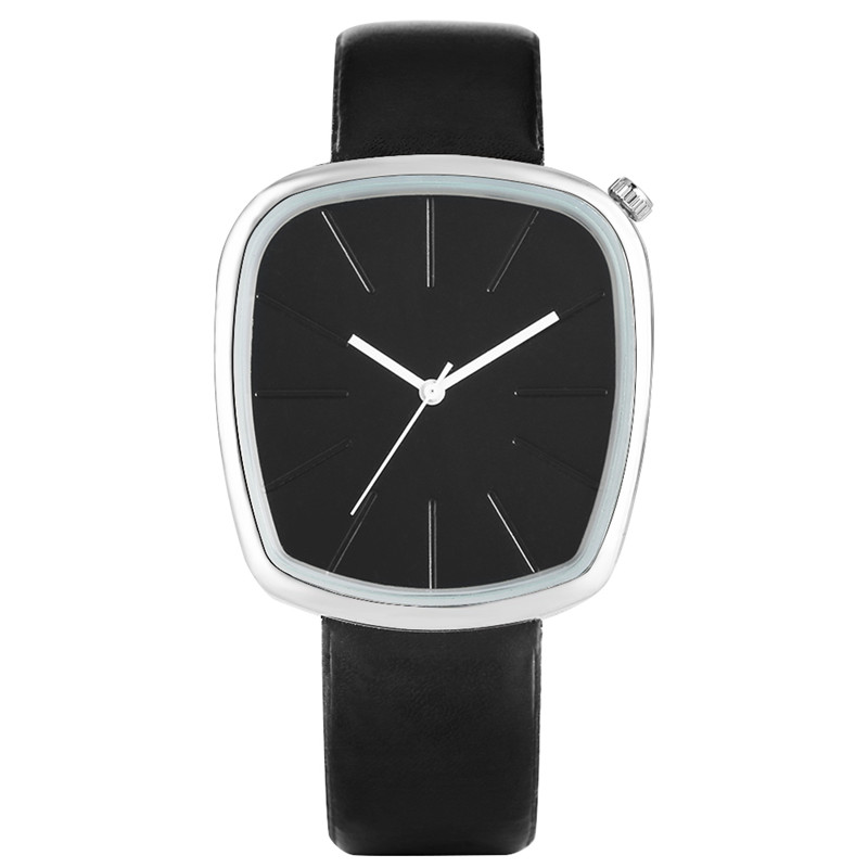 Business Square Quartz Analog Watches Women Watch 2019 PU Leather Band Clear Black White Hands Simple Fashion Orologio Donna