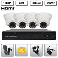 H 264 4CH NVR 1080P 2 0 MegaPixel Network IP Dome IR Camera CCTV Security System