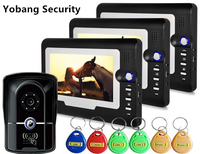 Yobang Security 7 Color Video Door Phone Video Intercom 3 Monitor Doorbell Camera Intercom Kit IR Night Vision Camera