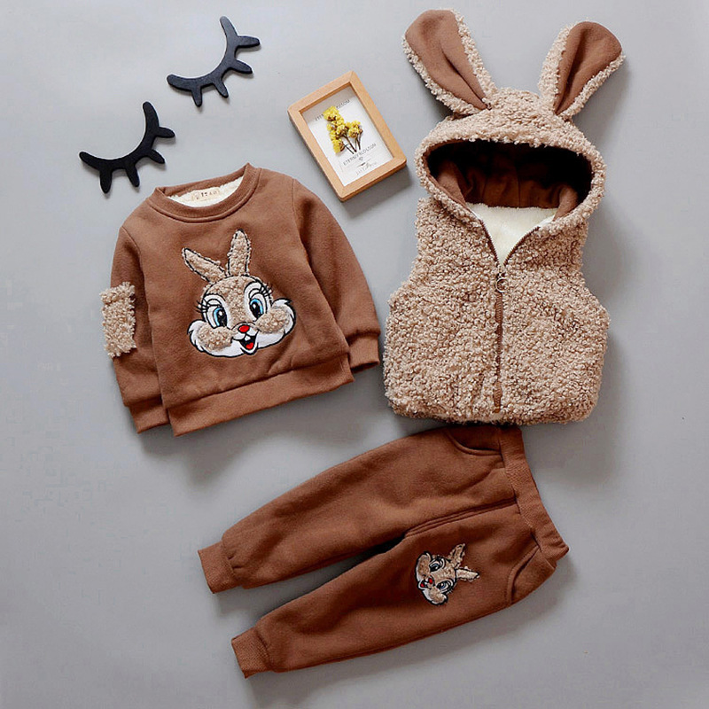 Winter Thick Warm Velvet Baby Boys Girls Clothing set 3pcs Fleece Cartoon Bunny Shirt +Vest Waistcoat+Pants Children Sports Suit купить недорого в Москве