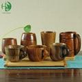 Varied wooden tea cups with handle tradition mugs of coffee milk beer natural handmade vintage wood tableware creative gifts
