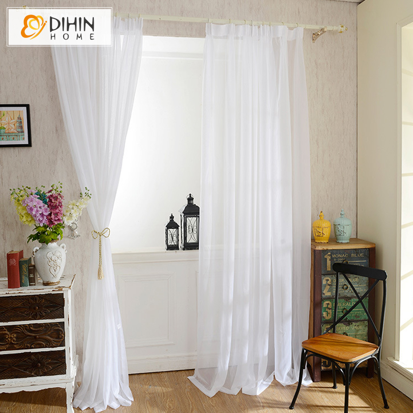 Dihin 1 Pc Modern Curtain Solid White Window Sheer