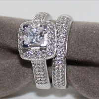 Fashion Luxury Size 6/7/8/9/10 Jewelry princess cut full CZ Stone simulated Women Wedding Engagement Two In One Ring Set