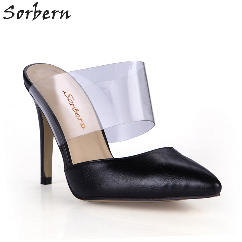 Sorbern Pointed Toe Slip On Mules Pumps High Heels Ladies Stilettos Clear Pvc Black Ladies Heels Retro Shoes Women Custom Color sorbern real photo colored glitter sequins women pumps slip on rivets ladies shoes women high heels stilettos pumps eu34 46