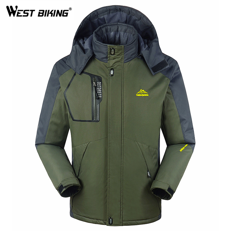WEST BIKING Winter Men Fleece Windbreaker Outdoor Sport Hooded Windproof Waterproof Warm Cycling MTB Hiking Climbing Jacket winter outdoor tactical military training windbreaker hooded coat outwear men s hiking climbing cotton warm waterproof jacket