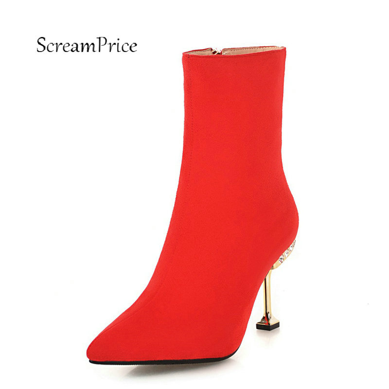 Women Suede Sexy Thin High Heel Ankle Boots Fashion Zipper Boots Female Crystal Pointed Toe Warm Winter Shoes Black Red