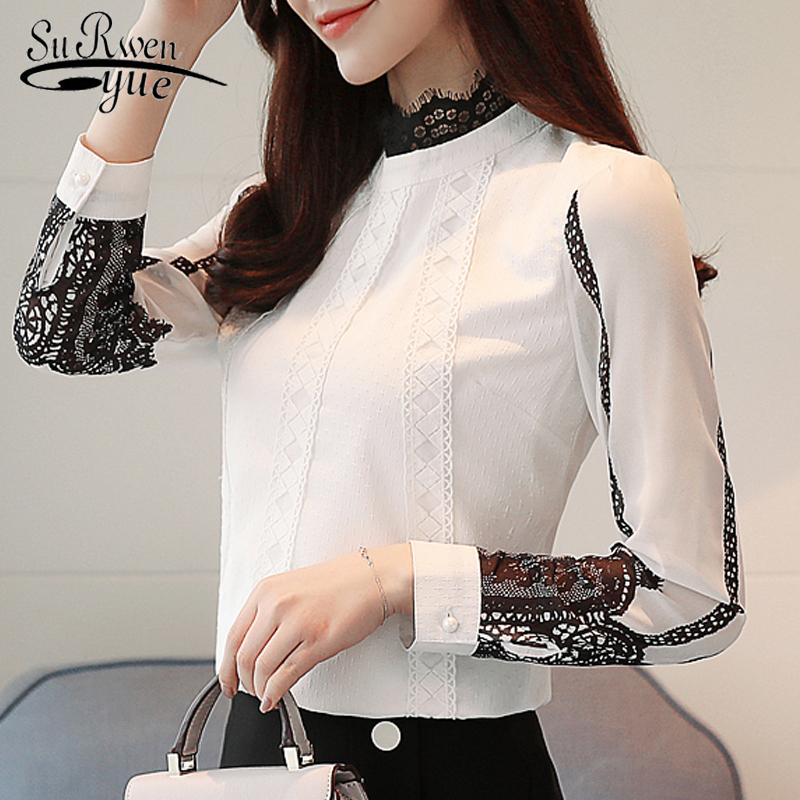 Fashion Women Blouses 2019 Long Sleeve Shirt Women solid white Chiffon Blouse Autumn Lace Chiffon Blouse Shirt Blusas 1109 40