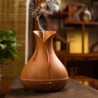 Aroma Essential Oil Diffuser Ultrasonic Air Humidifier With Wood Grain 7 Color Changing LED Lights For